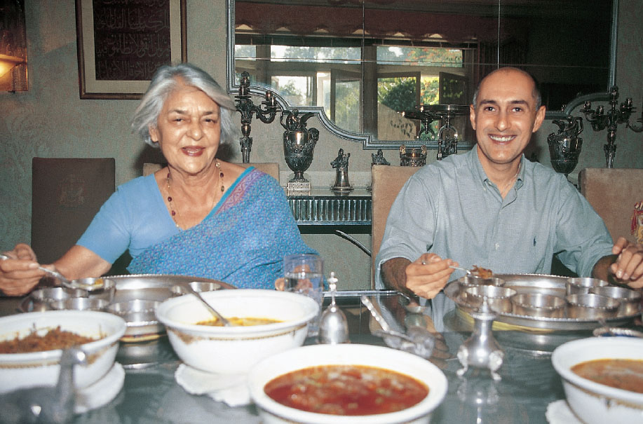 Rajmata Gayatridevi with her step-grandson, Vijit Singh at Lily Pool